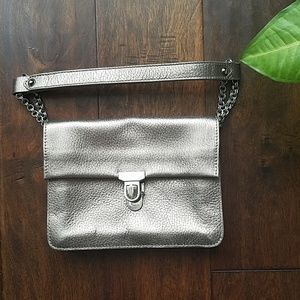 Furla Pewter Leather Shoulder Bag  GUC